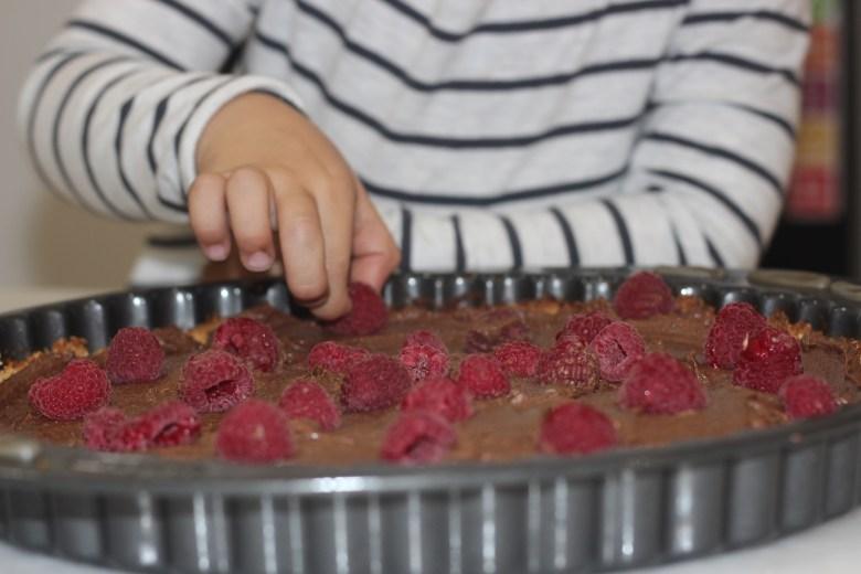 tarte crua de chocolate e franboesa