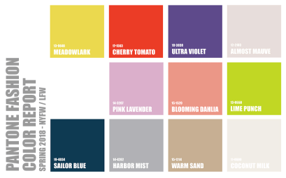 Pantone Fashion Color Guide Spring 2018