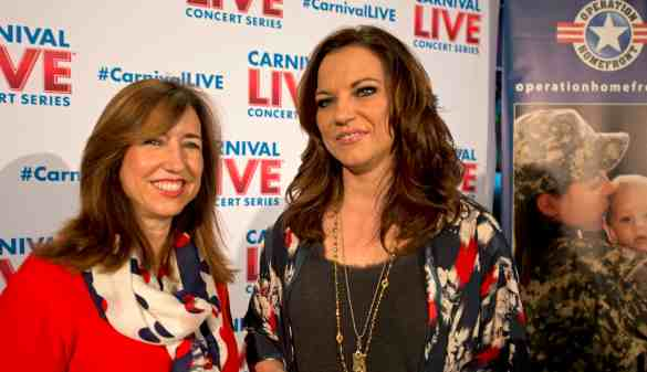 Carnival Cruise Line President Christine Duffy, left, poses with legendary country music artist Martina McBride, right, prior to a Martina McBride Carnival LIVE concert Saturday, Feb. 14, 2015, onboard Carnival Freedom while the ship was docked in Galveston, Texas.