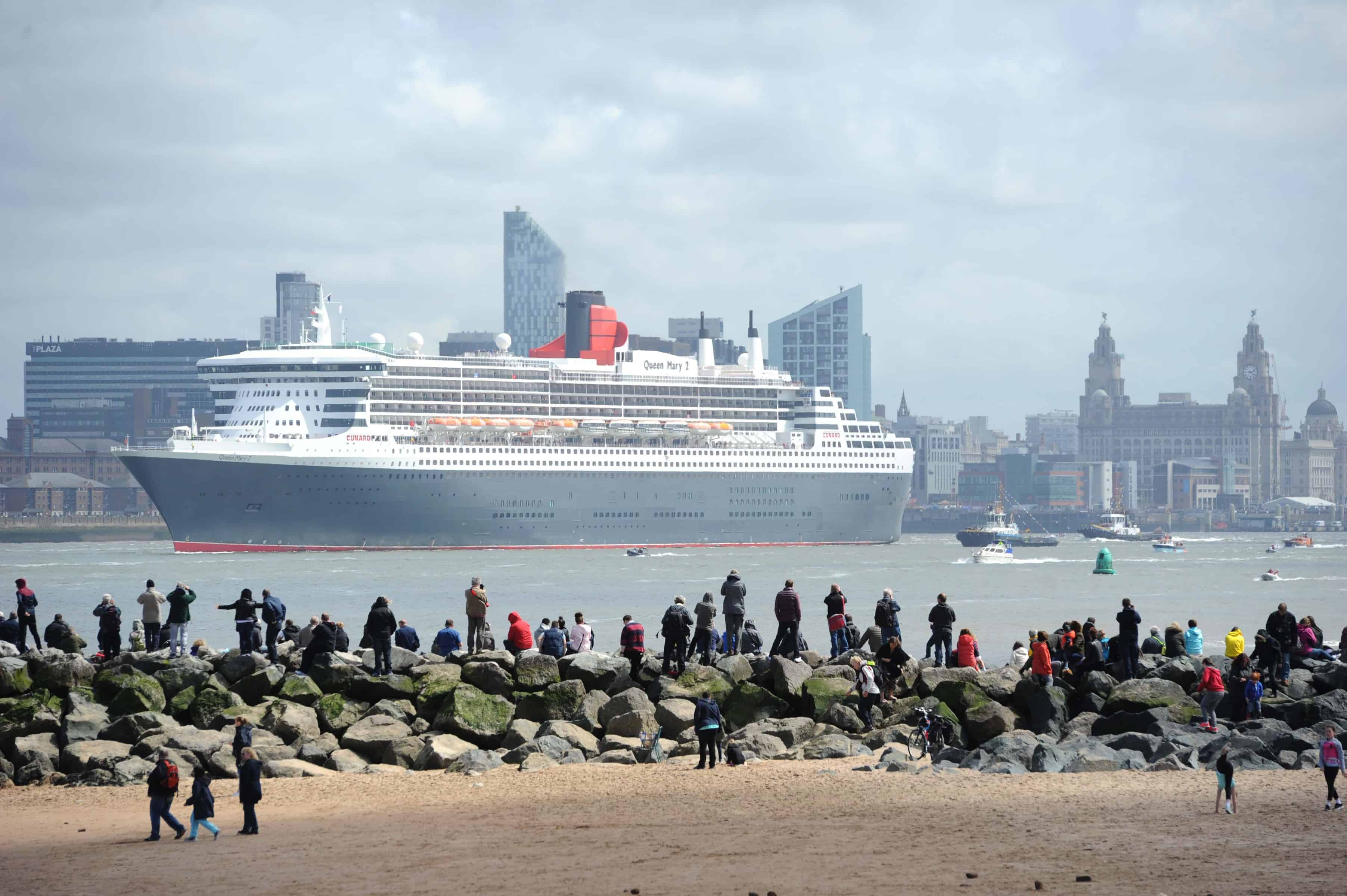 The Three Queens on the River Mersey as part of Cunard's 175th Anniversary celebrations in Liverpool.The Queen Mary 2 leaves Liverpool after the Three Queens celebrations.