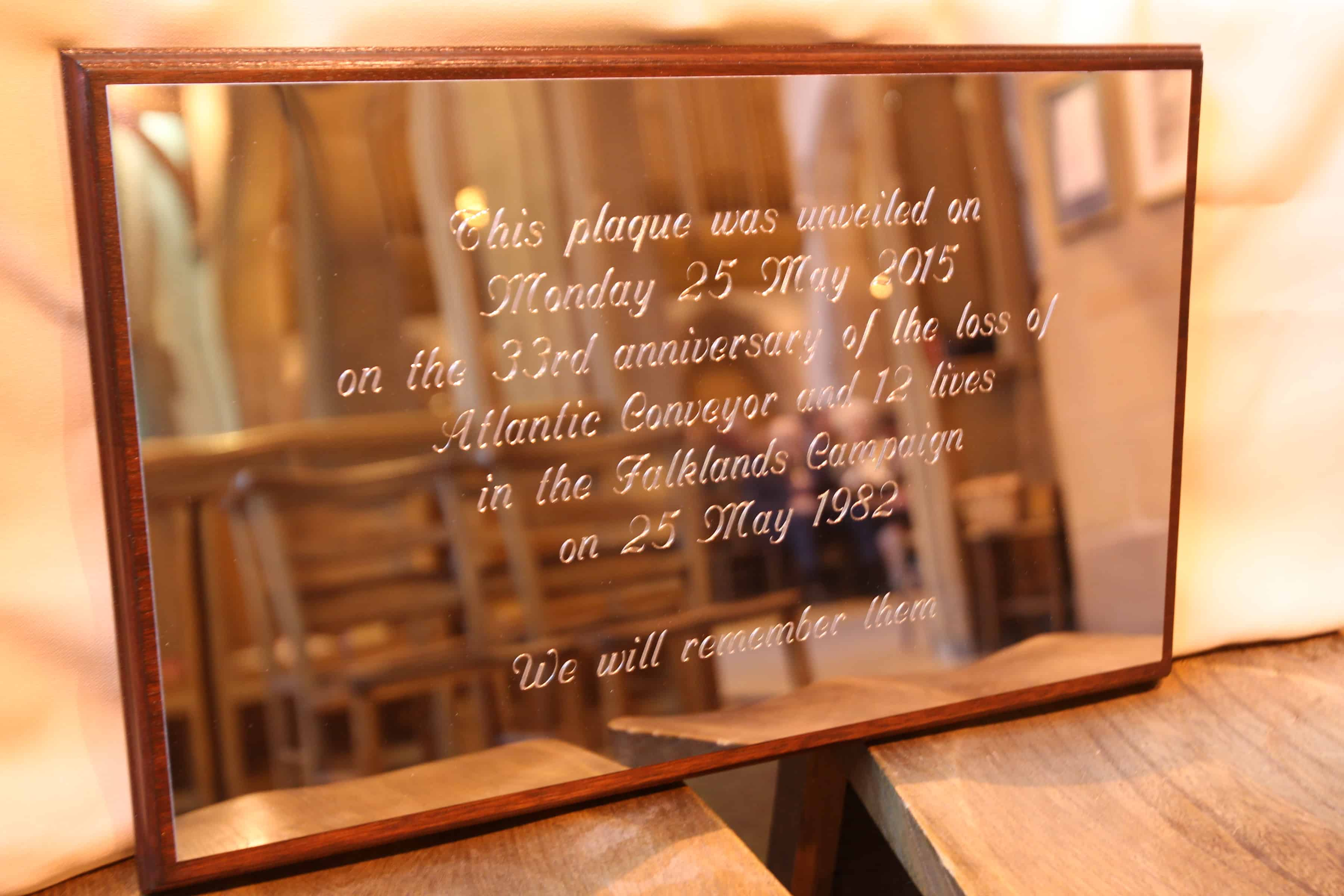 Service of Celebration as part of the Three Queens, Cunard 175th Anniversary at the Church of Our Lady and Saint Nicholas, Liverpool. Pictured: A memorial plaque dedicated to those who lost their lives on the Atlantic Conveyor, during the Falklands Conflict on 25th May 1982. Photo by Ian Cooper