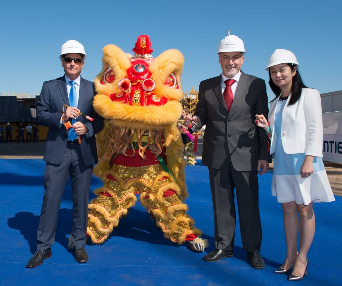 first Chinese lion dance ceremony to mark construction milestone