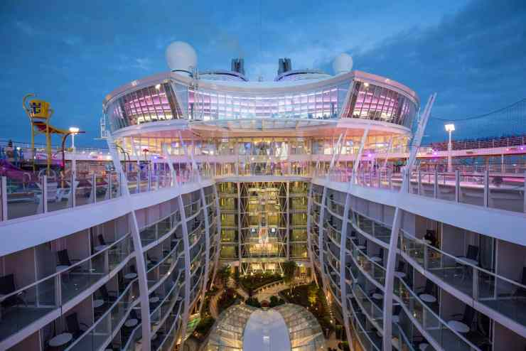 "Royal Caribbean International's Harmony of the Seas, the world""s largest and newest cruise ship, previews in Southampton. General view to Central Park"