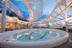 "Royal Caribbean International's Harmony of the Seas, the world""s largest and newest cruise ship, previews in Southampton. Solarium"