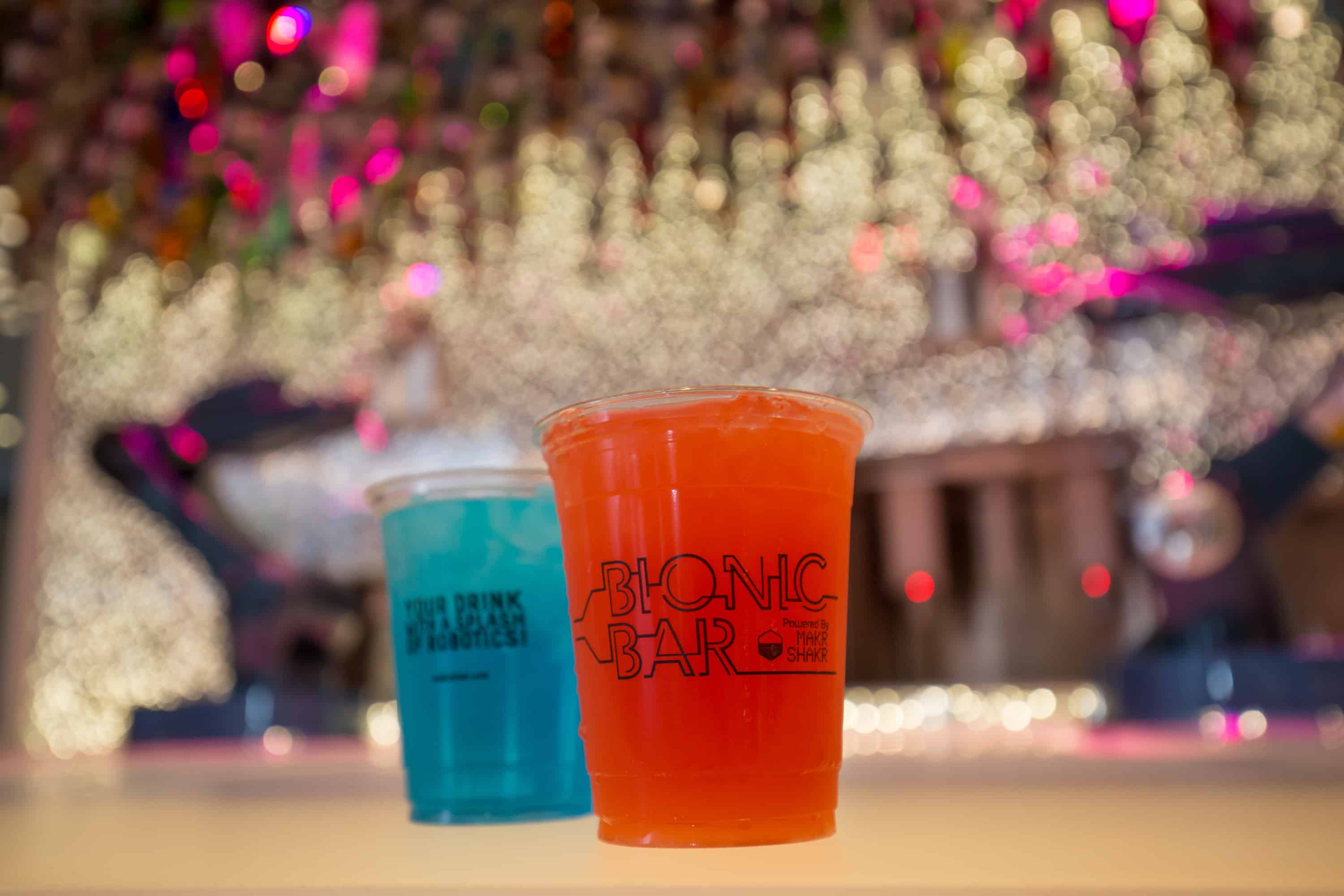 """Royal Caribbean International's Harmony of the Seas, the world""""s largest and newest cruise ship, previews in Southampton. Bionic Bar powered by Makr Shakr"""