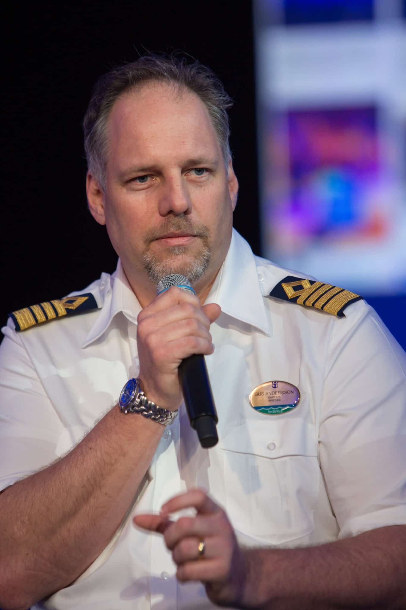 """Royal Caribbean International's Harmony of the Seas, the world""""s largest and newest cruise ship, previews in Southampton. L-R Gus Andersson, Captain Harmony of the Seas."""