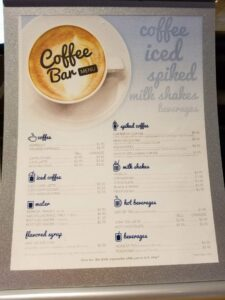 The Coffee Bar Menu aboard Carnival Liberty