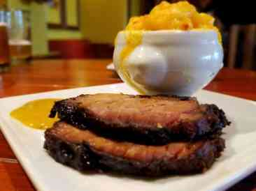 A sample of the 18-Hour Brisket and Mac & Cheese that will be offered at Guy's Pig & Anchor Bar-B-Que Smokehouse|Brewhouse
