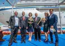 Fincantieri Director Giovanni Stecconi, Sissel Kyrkjebø, Viking Chairman Torstein Hagen, Finse, Karine Hagen at the Viking Jupiter Float Out Ceremony at the Fincantieri Shipyard, Ancona, Italy.
