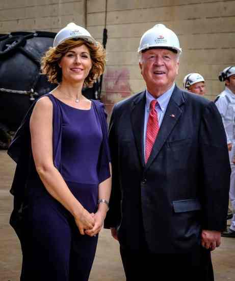Godmother Sissel Kyrkjebø and Viking Chairman Torstein Hagen at the Viking Jupiter Float Out Ceremony at the Fincantieri Shipyard, Ancona, Italy.