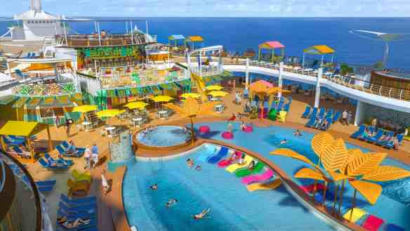 On Navigator of the Seas, vacationers can take a beat or the whole day to unwind under the sun on a completely reimagined poolscape infused with Caribbean vibes. The standout resort-style deck takes on a new look with more pool for everyone – even a Splash Pad for tots – and all the ingredients that make for a perfect weekend, including casual grab-and-go spots Johnny Rockets Express and El Loco Fresh.