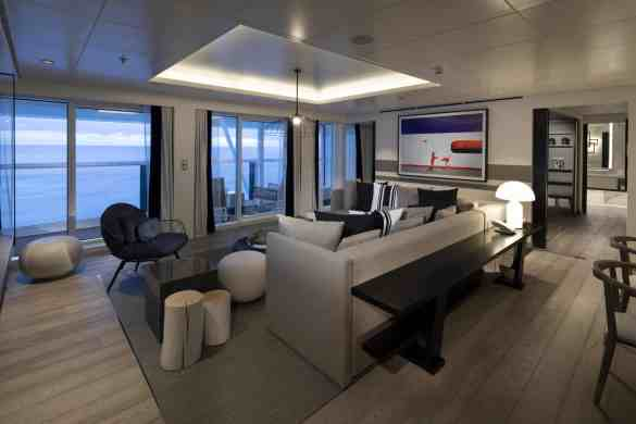 Penthouse Suite Cat. PS - Living room - Room #12110 Deck 12 Forward Starboard Celebrity EDGE - Celebrity Cruises