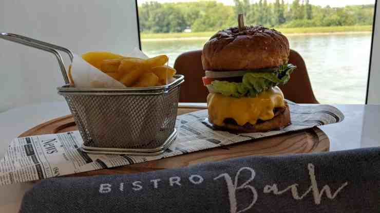 The cheeseburger at Crystal River Cruises' Bistro Bach