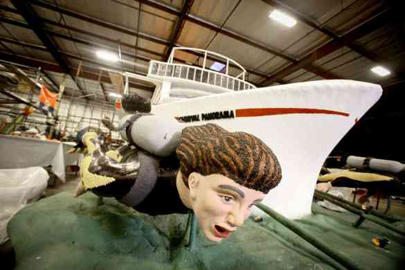 """Carnival hosts the naming ceremony of their new ship, the Carnival Panorama, as their entry  float entitled """"Come Sail Away"""" float in the Pasadena Tournament of Roses, is assembled at Fiesta Floats in Irwindale on December 28, 2018"""