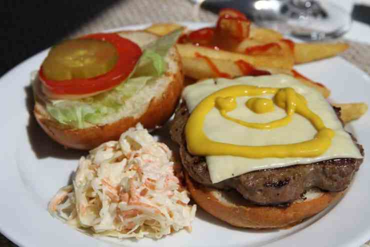 Waves Grill burger on Oceania Riviera