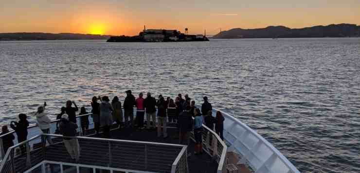 The new National Geographic Venture sails toward Alcatraz Island