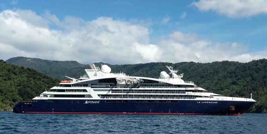 Ponant cruise ship Le Laperouse in New Zealand