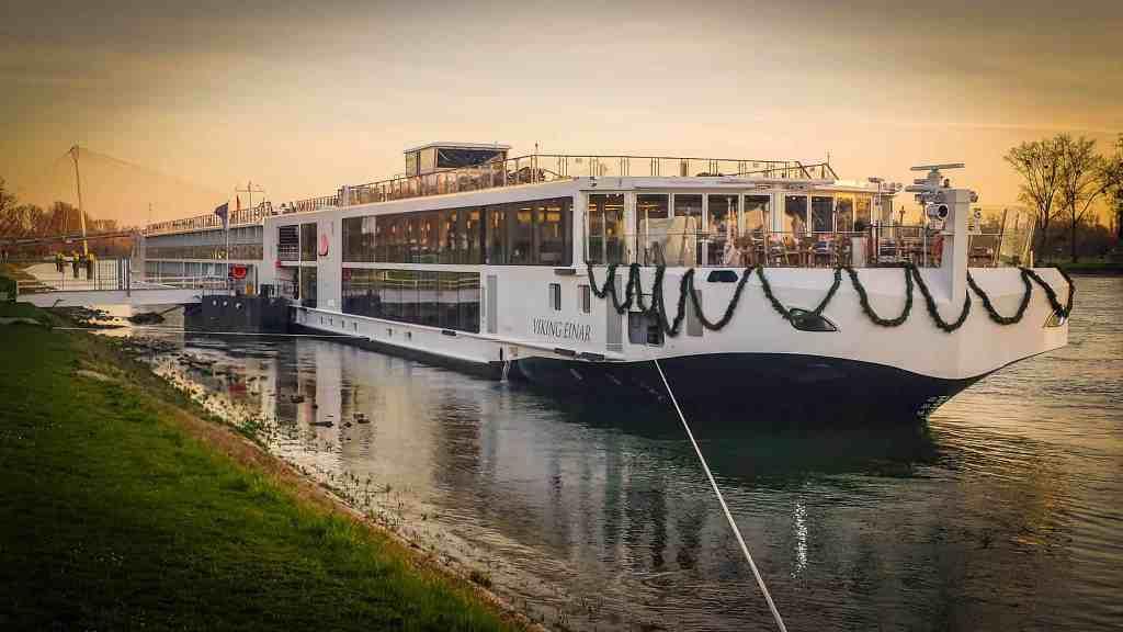 One of Viking Cruises newest Longships, Viking Einar docked.
