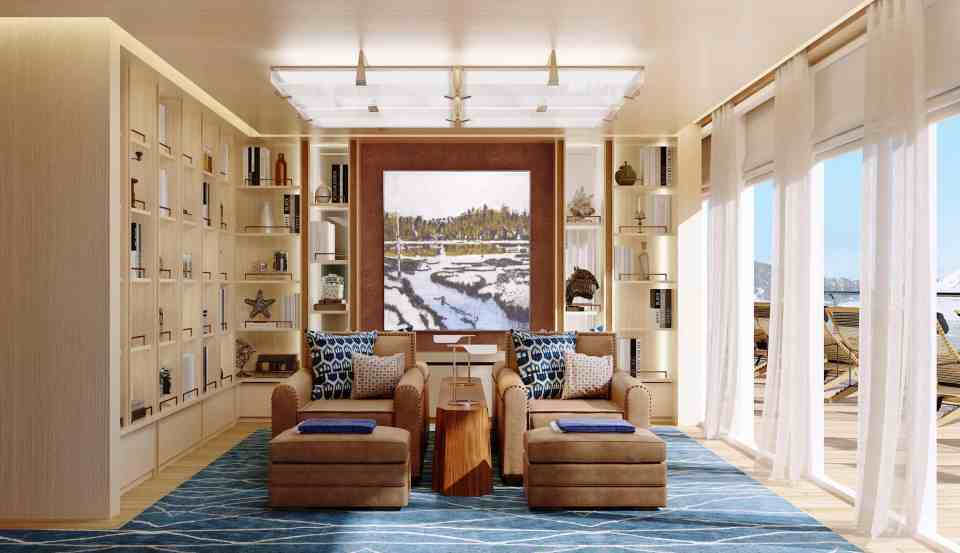 Rendering of the Viking Expedition  ship: Deck 5 Living Room - Library (Credit: Viking)