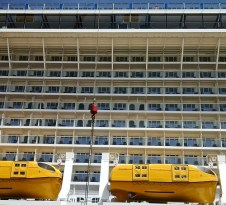 if you fall from the top deck of a modern cruise ship, you'll likely break a limb or drown from the impact alone