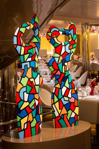 artwork deck 2 aft main dining room koningsdam - holand america line