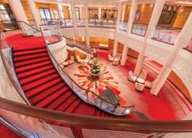 qm2's new grand lobby following the 2016 refit