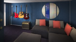 the music room and guest bedroom in the largest 'massive suite'.