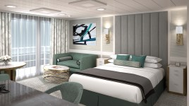 the master bedroom in the penthouse suite aboard insignia.