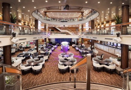 the main atrium lobby aboard karnika where passengers board the ship