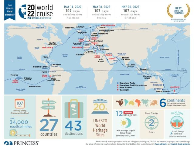 coral princess world cruise infographic