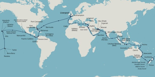 borealis s2202 world cruise itinerary map