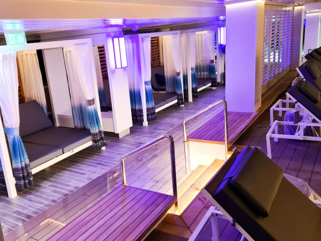 new cabana-style sunbeds and new teak flooring in the refurbished glass house aboard marella discovery