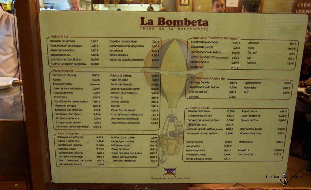 Speisekarte in der Tapasbar La Bombeta