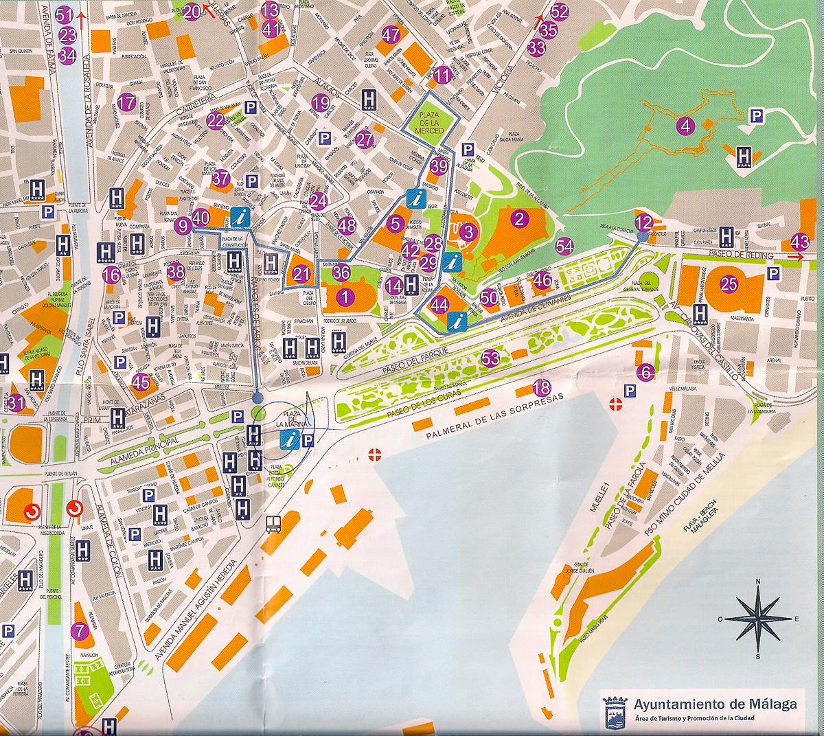Stadtplan von Malaga