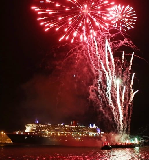 Fireworks and marching bands marked the departure of Queen Mary 2 and Queen Elizabeth on their World Voyages