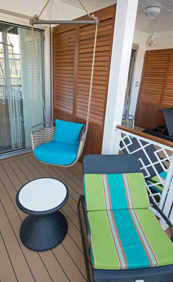 Tropics-inspired Havana Cabanas on the Carnival Vista feature accommodations with private outdoor patios including a hanging chair. The largest and most innovative cruise vessel in Carnival Cruise Line's fleet, Carnival Vista measures 133,500 tons, 1,055 feet long and has a guest capacity of almost 4,000 passengers. Photo by Andy Newman/Carnival Cruise Line