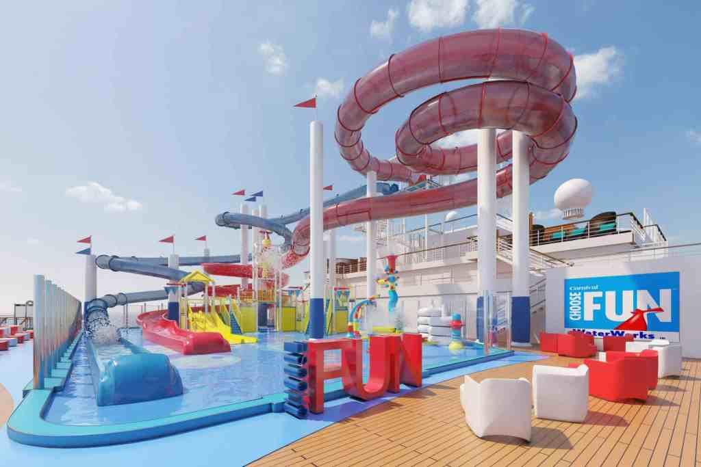 The Choose Fun water park takes center stage on Carnival Panorama's top deck