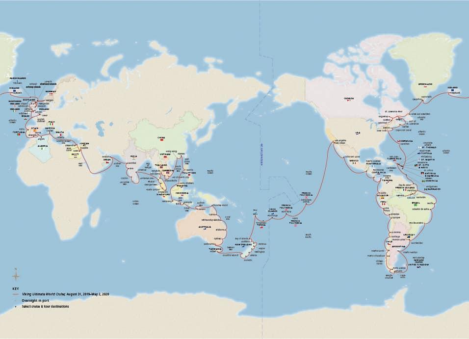 Viking Ultimate World Cruise Map 2019-2020