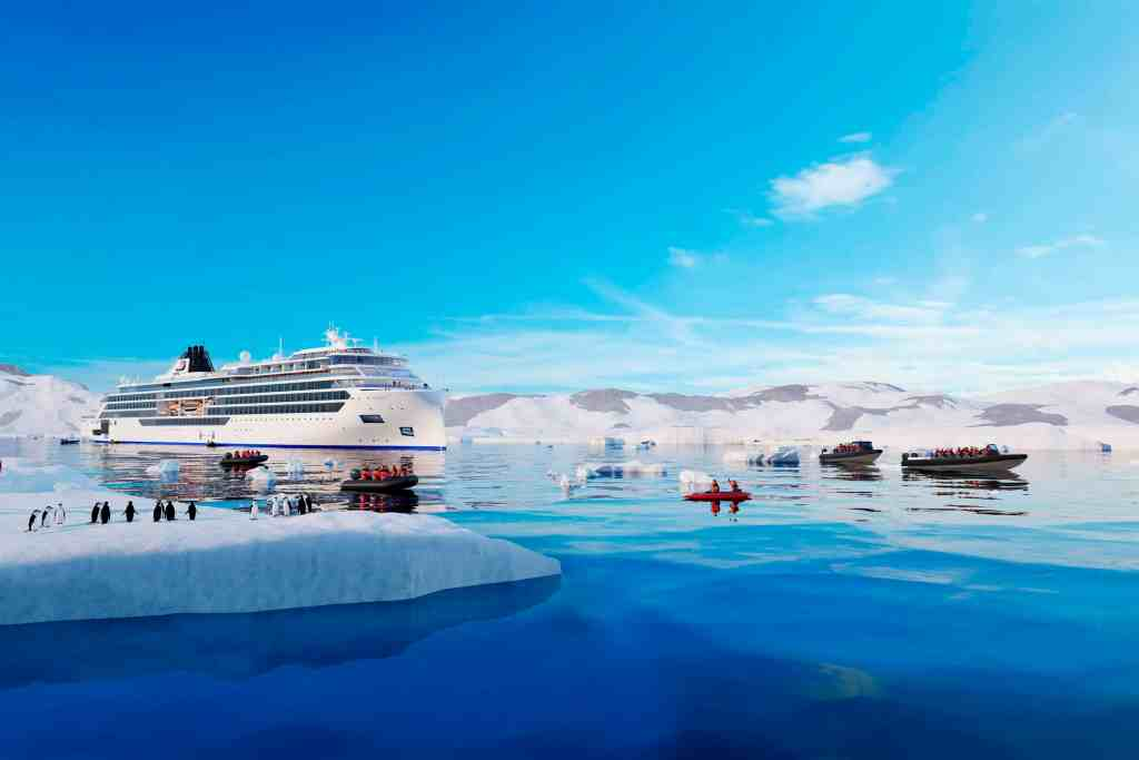 Viking Expedition Ship in Antarctica.