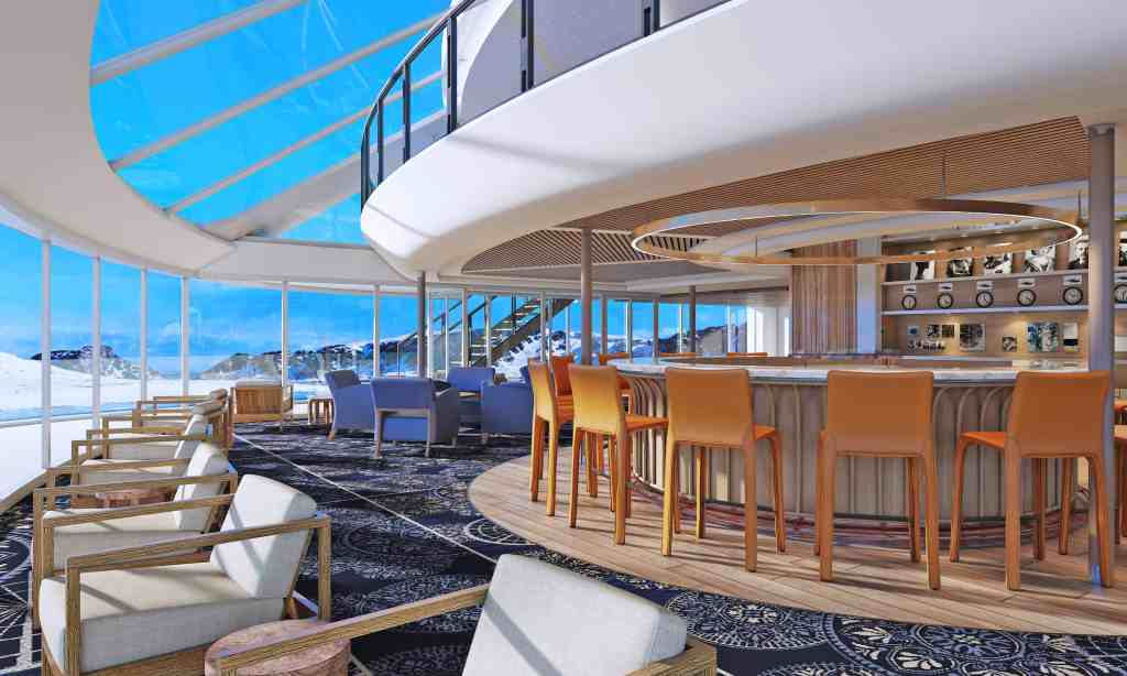 Rendering of the Explorer's Lounge on-board the Viking Octantis