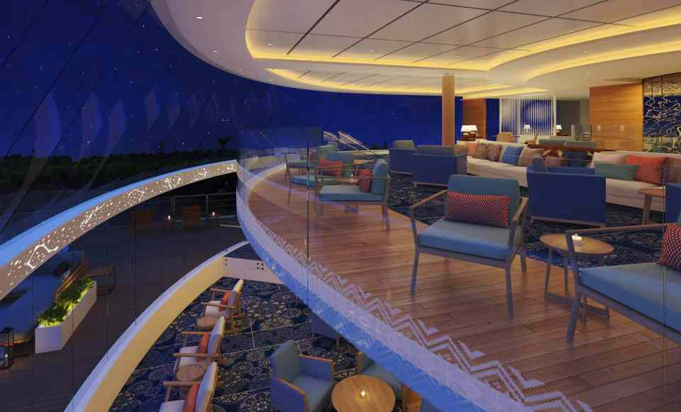 Rendering of the Viking Mississippi Explorers Lounge - Deck 2