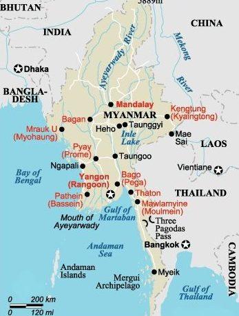 Kort over Myanmar (Burma)