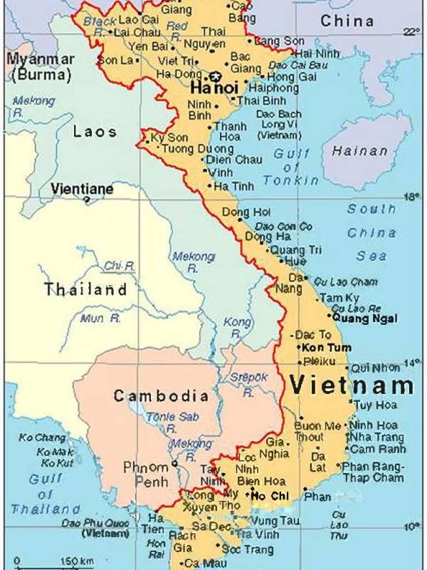 Kort over Vietnam