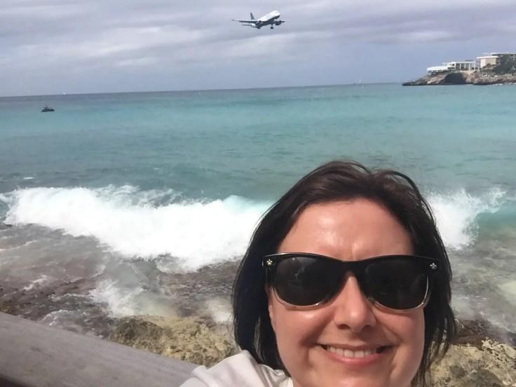 Aeroplane selfie at Maho Beach, Sint Maarten