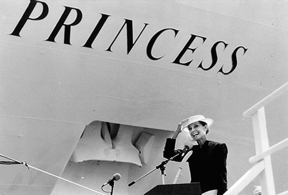 Audrey Hepburn christening the Star Princess