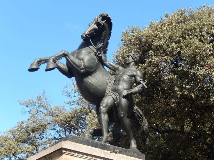 A statue in Plaça de Catalunya Las Ramblas