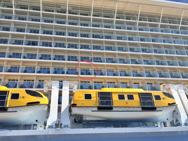 Spectrum of the Seas balcony location