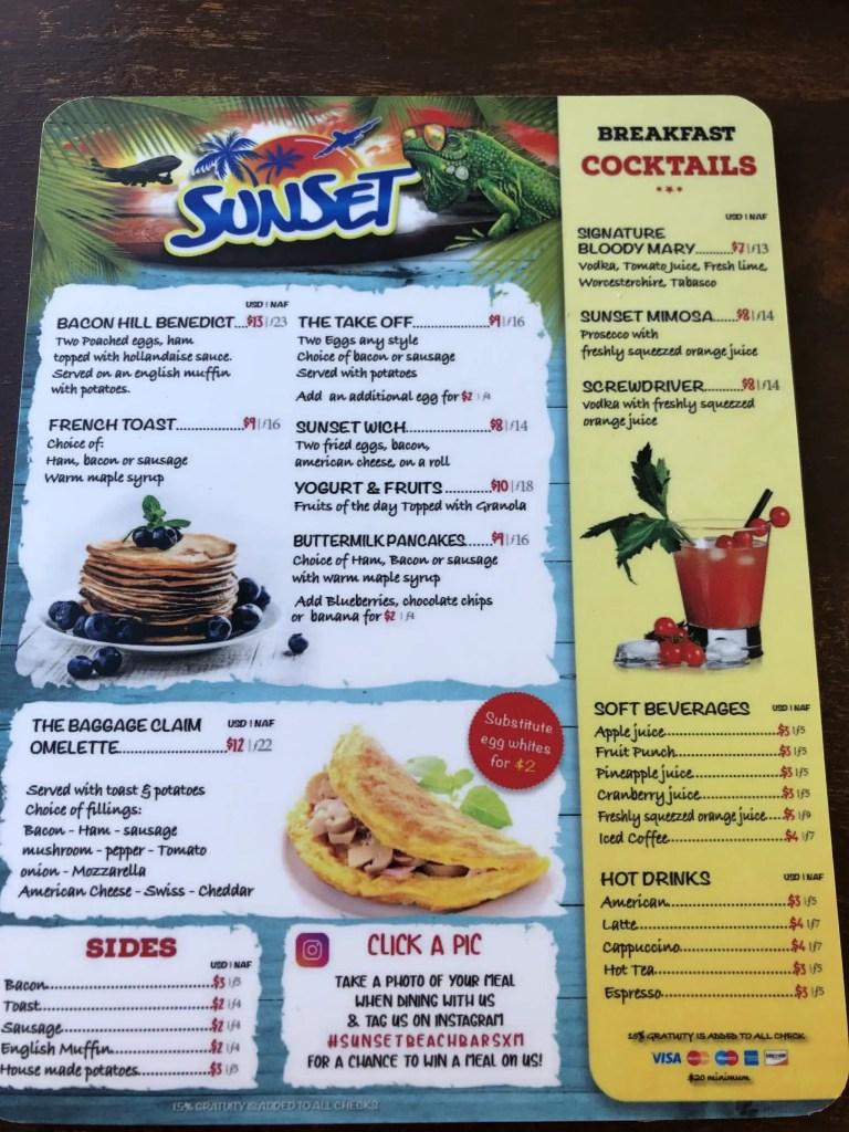 Sunset bar and grill breakfast menu
