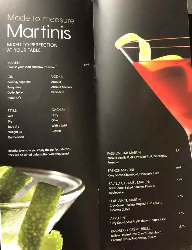 P&O drinks menu martinis