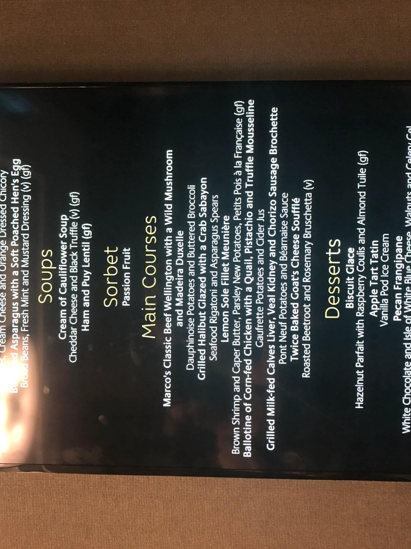 P&O Britannia Gala Night menu